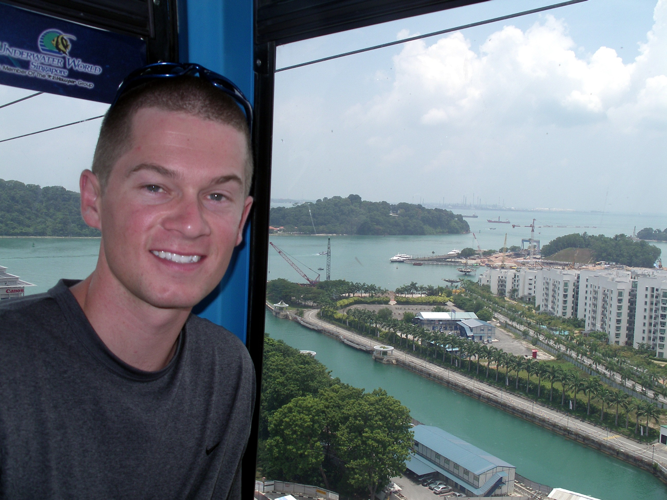 Cable Car Ride to Sentosa Island, Singapore with a New Burr Haircut